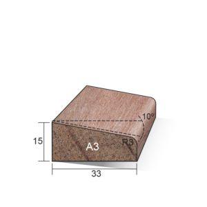 Glaslat A3 (schuin) Meranti gegrond 15x33x4900mm