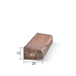 Glaslat B2 schuin 12x20x3050mm Meranti gegrond (sponning 4x16mm)