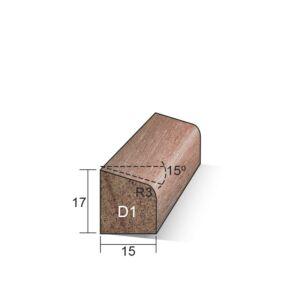 Glaslat D1 schuin 17x15x3650mm Meranti gegrond