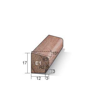 Glaslat E1 schuin 17x15x4900mm Meranti gegrond (sponning 3x3mm)