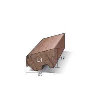 Glaslat L1 Ventilerend 17x25x4900mm gegrond Meranti