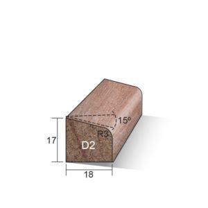 Glaslat D2 schuin 17x18x4750mm Meranti gegrond