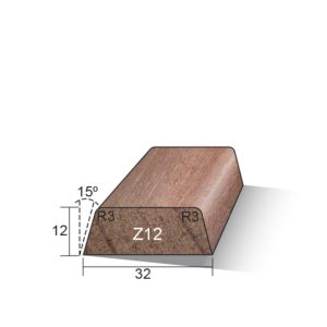 Glaslat Z12 schuin gegrond 12x32x3050mm Meranti