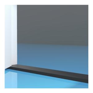 Stofdorpel kunststeen zwart 20x90x1000mm