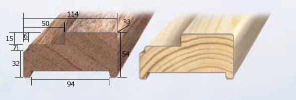 Inmetselkozijn stomp wit 56x115x2315mm grenen stijl