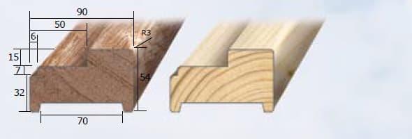 Inmetselkozijn stomp meranti wit gegrond 54x90x2315mm stijl
